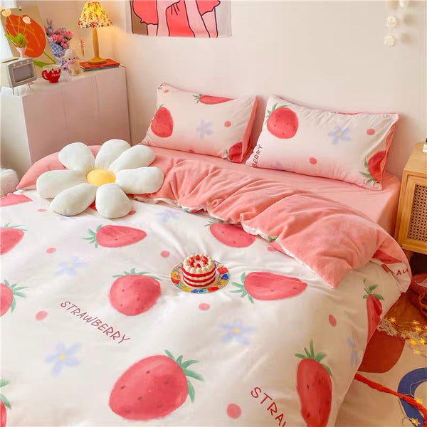 Cute Strawberry Soft Bedding Set PN3458