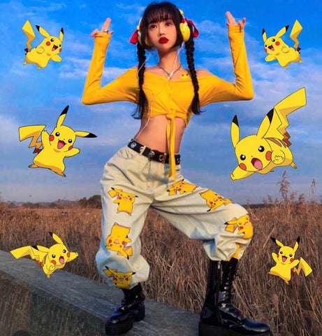 Fashion Pokemon Loose Jeans Pants  PN1823