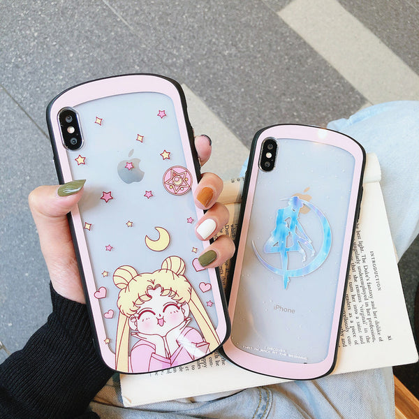 Sailormoon Usagi Glass Phone Case for iphone 6/6s/6plus/7/7plus/8/8P/X/XS/XR/XS Max/11/11pro/11pro max PN1512