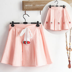 Kawaii Embroidered Strawberry Pleated Skirt PN1415