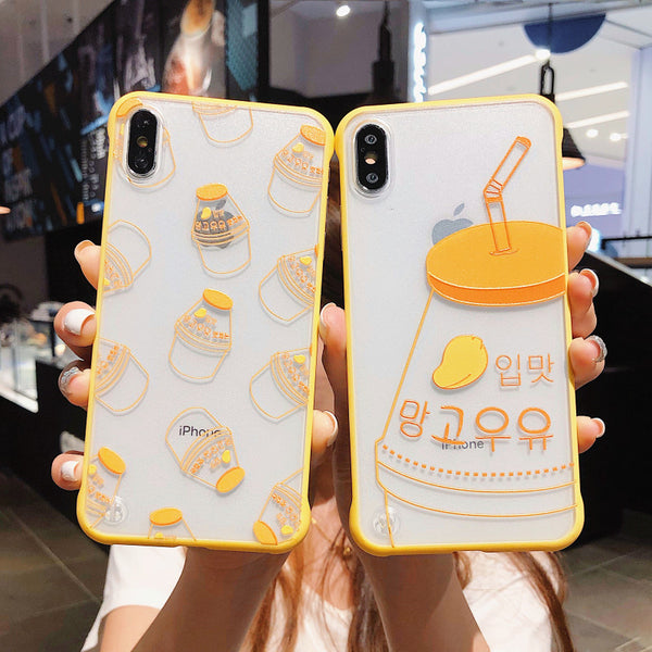 Kawaii Mango Milk Phone Case for iphone 6/6s/6plus/7/7plus/8/8P/X/XS/XR/XS Max PN1702