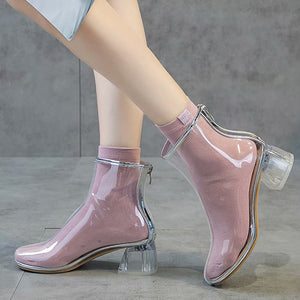 Fashion High-heeled Transparent Rubber Shoes PN1854