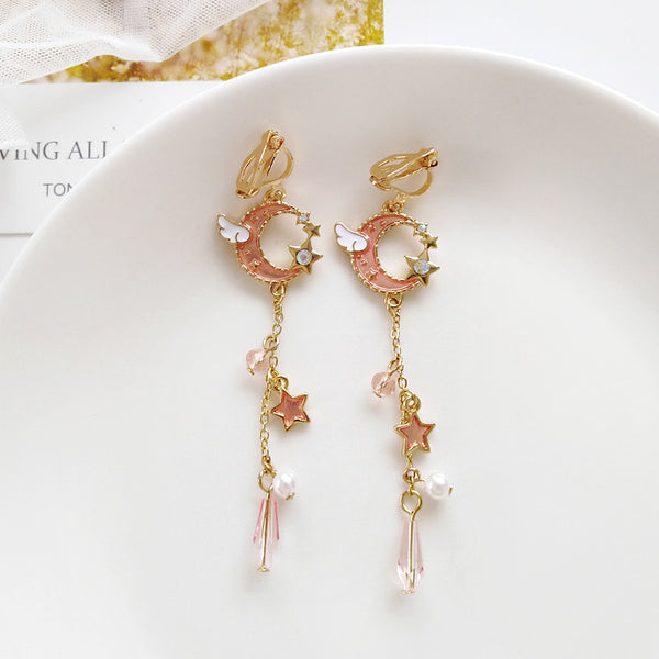 Cute Moon and Star Earrings/Clips PN2033