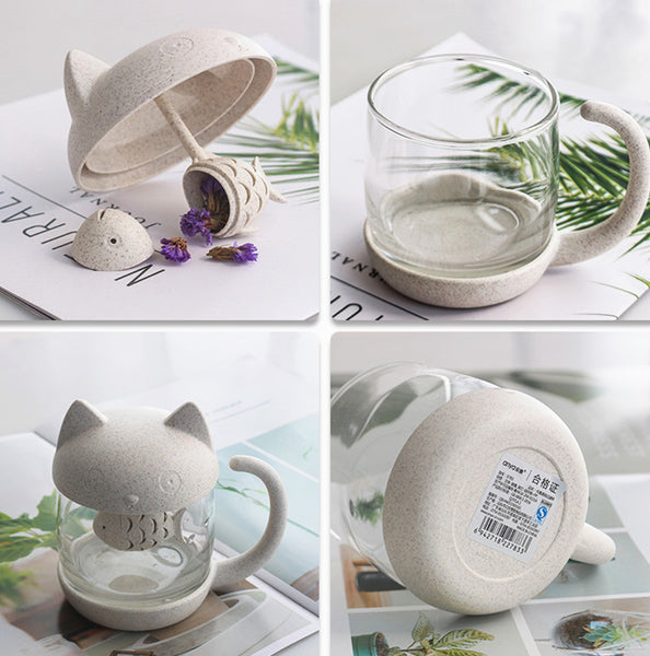 Lovely Cat Glass Water Cups PN1228