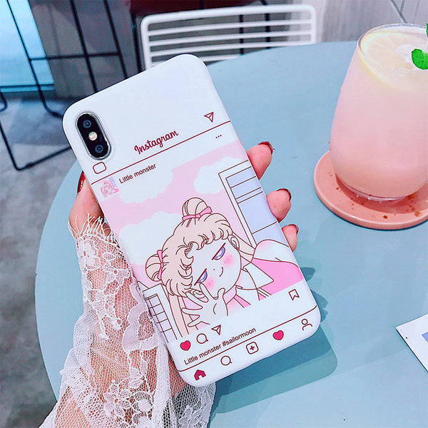 Cute Sailormoon Instagram Phone Case for iphone 6/6s/6plus/7/7plus/8/8P/X/XS//XR/XS Max PN0654
