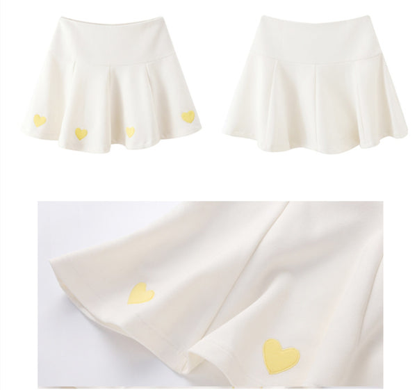 Embroidered Hearts Pleated Skirt PN1472
