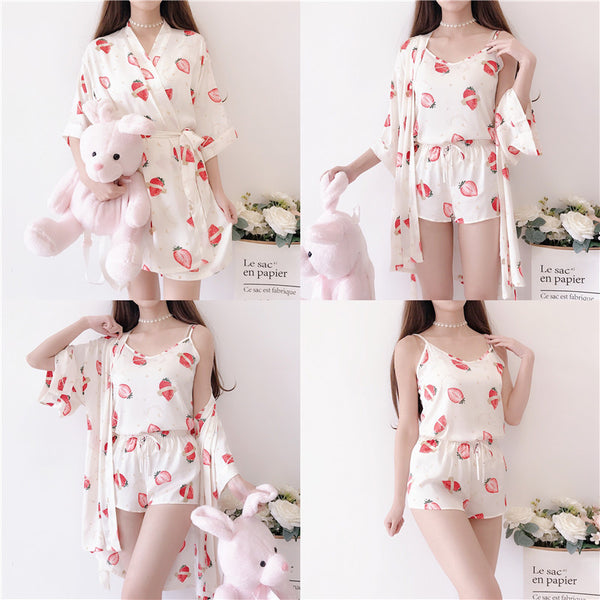 Kawaii Strawberry Pajamas Set PN2742