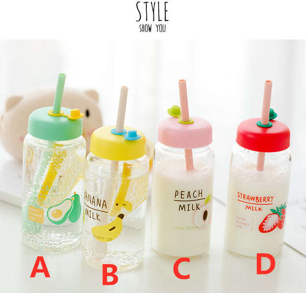 Kawaii Fruits Water Glass Bottle PN2576