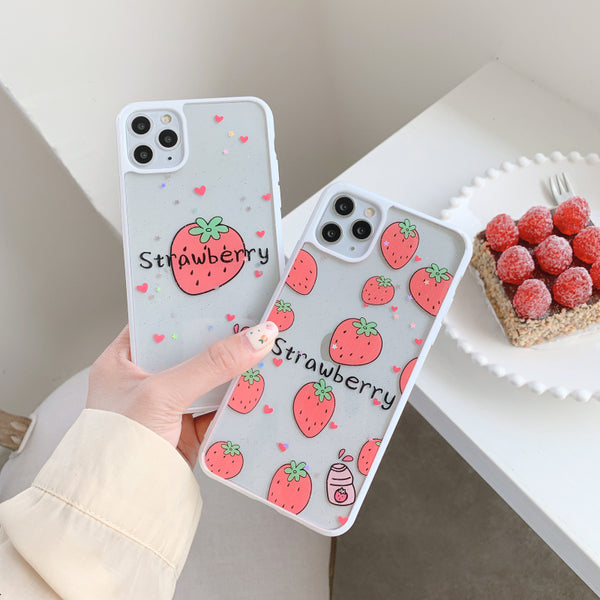 Cute Strawberry Phone Case for iphone 7/7plus/8/8P/X/XS/XR/XS Max/11/11pro/11pro max PN2645