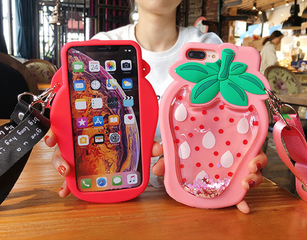 Strawberry Liquid Phone Case for iphone 6/6s/6plus/7/7plus/8/8P/X/XS/XR/XS Max PN1334