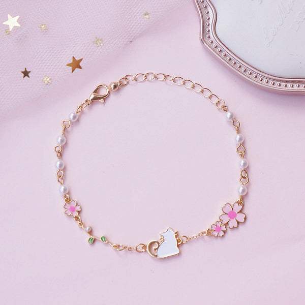 Fashion Sakura and Cat Bracelet PN1951