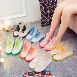 Shortie Colorful Strap Rubber Rain Boots PN1253