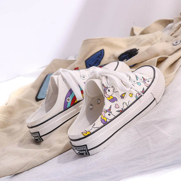 Rainbow Unicorn Canvas Half Slippers Shoes PN1276