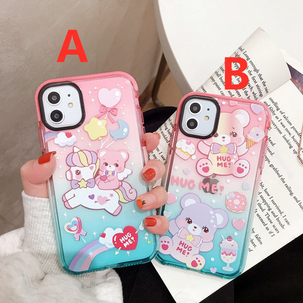 Colorful Bear Phone Case for iphone 6/6s/6plus/7/7plus/8/8P/X/XS/XR/XS Max/11/11pro/11pro max PN2422