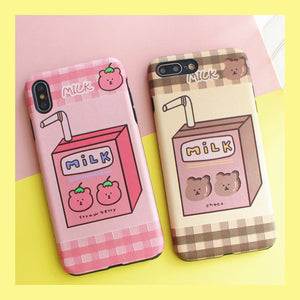 Strawberry Milk Phone Case for iphone 6/6s/6plus/7/7plus/8/8P/X/XS/XR/XSmax PN1205
