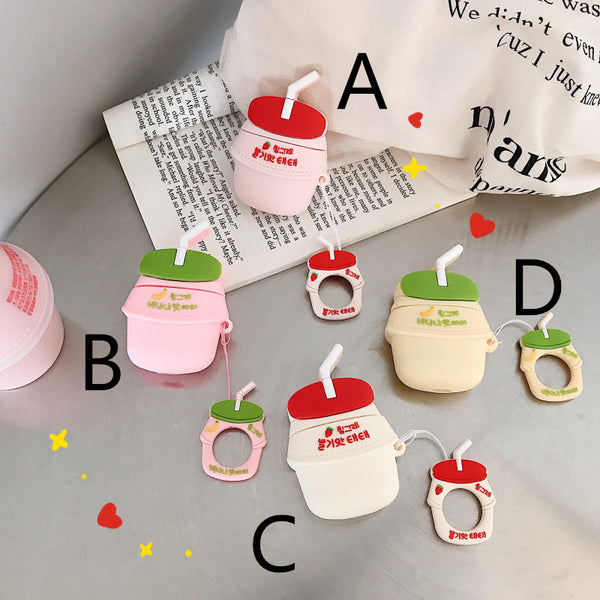 Cute Strawberry Milk Bottle Airpods Case For Iphone PN1563
