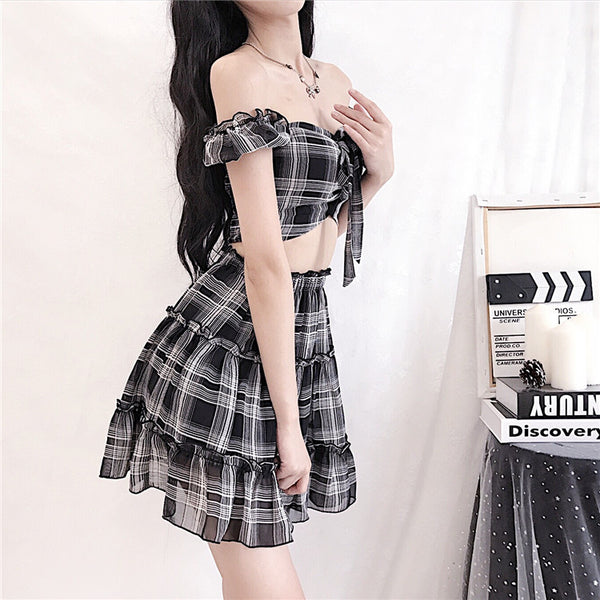 Sexy Plaid Chiffon Top and Skirt Set PN1654
