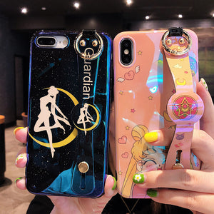 Sailormoon Wrist Strap Bracket Phone Case for iphone 6/6s/6plus/7/7plus/8/8P/X/XS/XR/XS Max PN1313