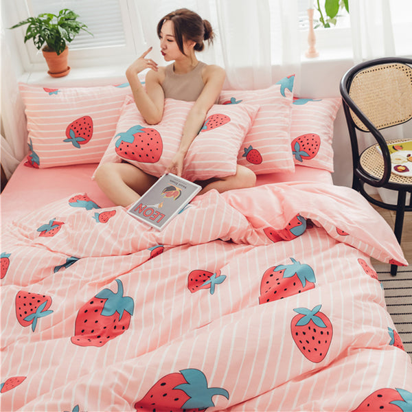 Fashion Strawberry Bed sheet,Quiltcover,Pillowcover PN2442