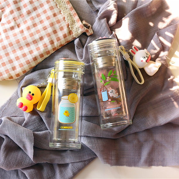 Cony and Bear Double Glass Water Bottle PN1145