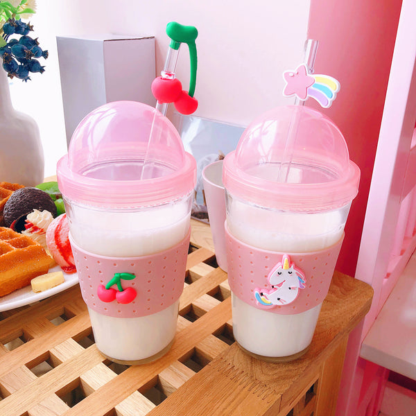 Kawaii Cherry Glass Water Bottle PN1266