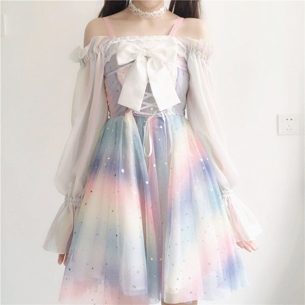 Fashion Rainbow Lace Dress PN1909