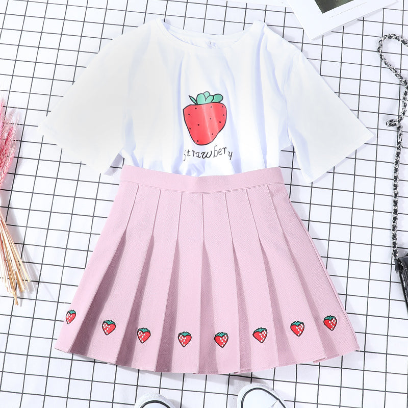 Cute Strawberry Skirt and T-shirt PN2570