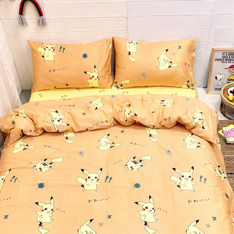Kawaii Pikachu Bed sheet,Quiltcover,Pillowcover PN1258