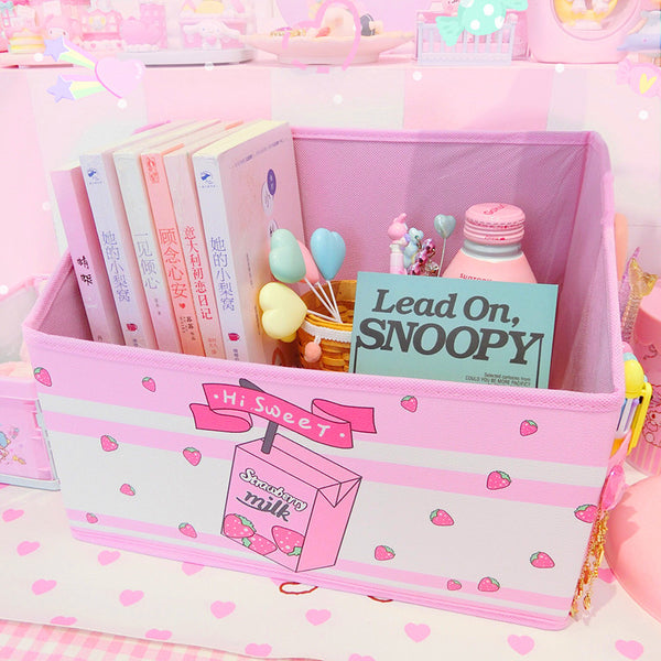 Kawaii Strawberry Milk Storage Box PN1948