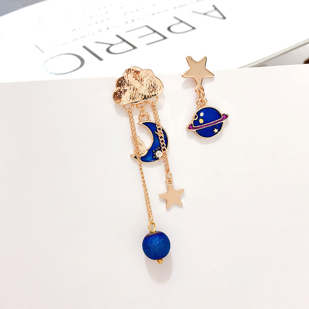 Cute Moon And Star Asymmetrical Earrings/Clips PN1858