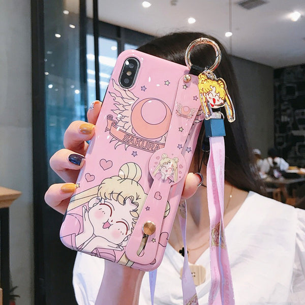 Sailormoon and Sakura Wrist Strap Bracket Phone Case for iphone 6/6s/6plus/7/7plus/8/8P/X/XS/XR/XS Max/11/11pro/11pro max PN1762