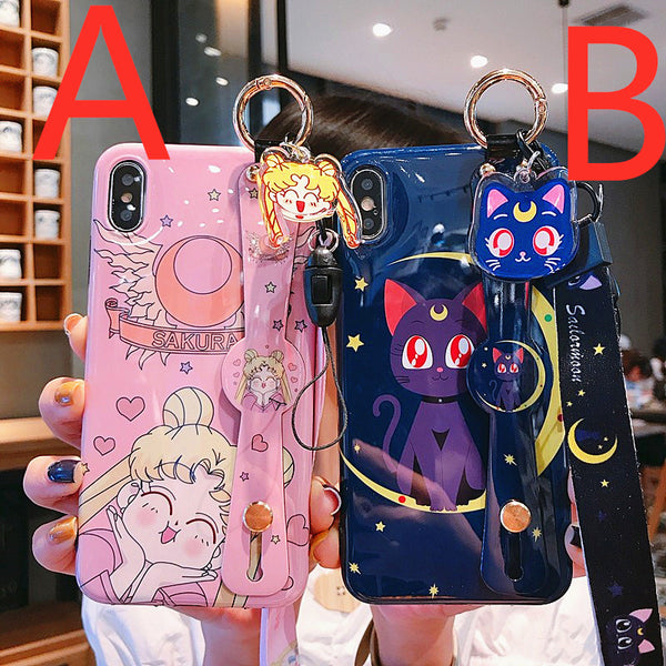Sailormoon and Sakura Wrist Strap Bracket Phone Case for iphone 6/6s/6plus/7/7plus/8/8P/X/XS/XR/XS Max/11/11pro/11pro max/12/12PRO/12mini/12pro max PN1762