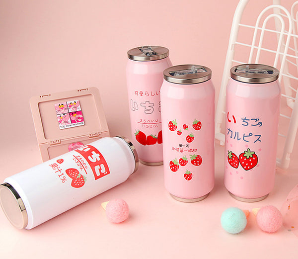 Cute Strawberry Flip-top Can Vacuum Water Bottle PN1697