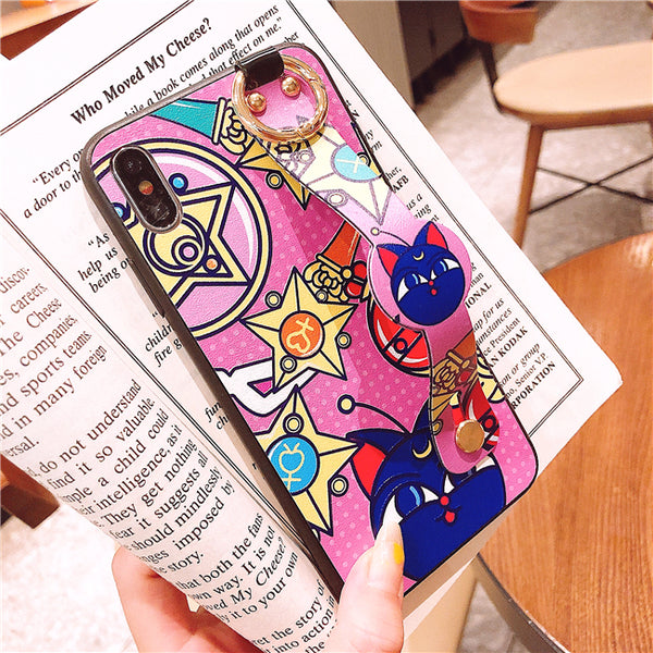 Sailormoon Luna Wrist Strap Bracket Phone Case for iphone 6/6s/6plus/7/7plus/8/8P/X/XS/XR/XS Max PN1771