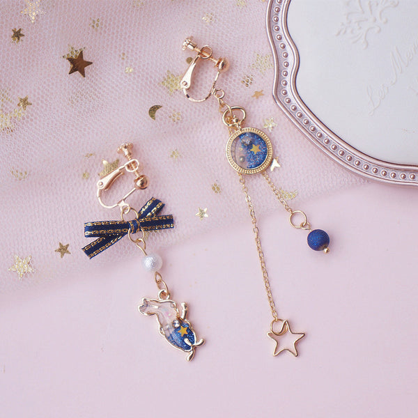 Fashion Rabbit And Star Asymmetrical Earrings/Clips PN2014