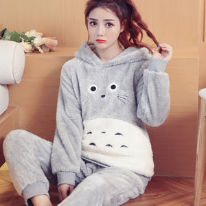 Kawaii Totoro Winter Pajamas Suits Set PN2055