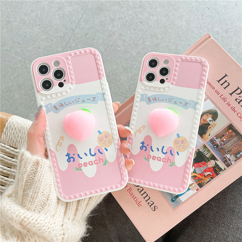 Cute Peach Phone Case for iphone 7/7plus/8/8P/X/XS/XR/XS Max/11/11pro/11pro max/12/12MINI/12pro/12pro max PN3577