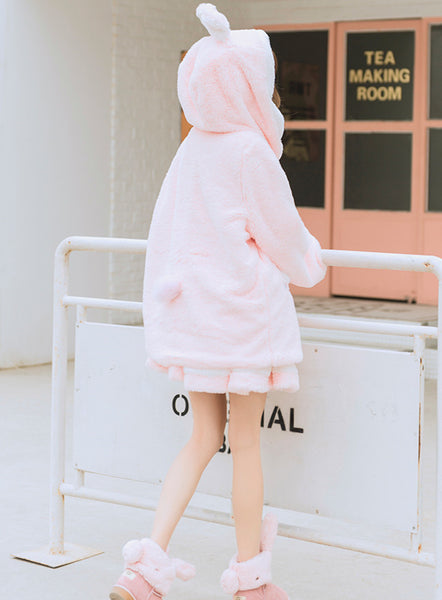 Sweet Rabbit Ears Plush Coat PN3643