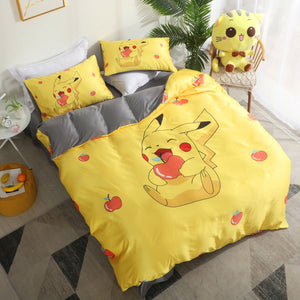 Happy Pikachu Bed sheet,Quiltcover,Pillowcover PN2473