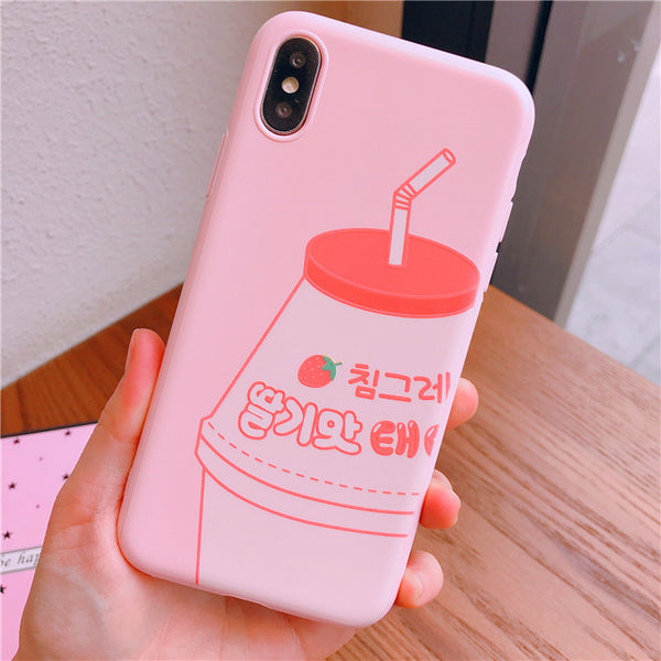 Milk And Strawberry Phone Case for iphone 6/6s/6plus/7/7plus/8/8P/X/XS/XR/XS Max/11/11pro/11pro max PN1010