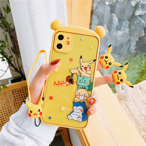 Cartoon Pikachu Phone Case for iphone 7/7plus/8/8P/SE/X/XS/XR/XS Max/11/11pro/11pro max PN3181