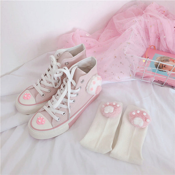 Cute Cats Paw Canvas Shoes And Socks PN1964