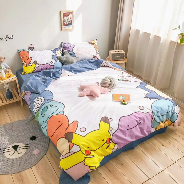 Cartoon Pokemon Bed sheet,Quiltcover,Pillowcover PN1989