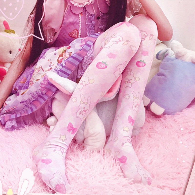 Strawberry Rabbit Pattern Socks PN3311
