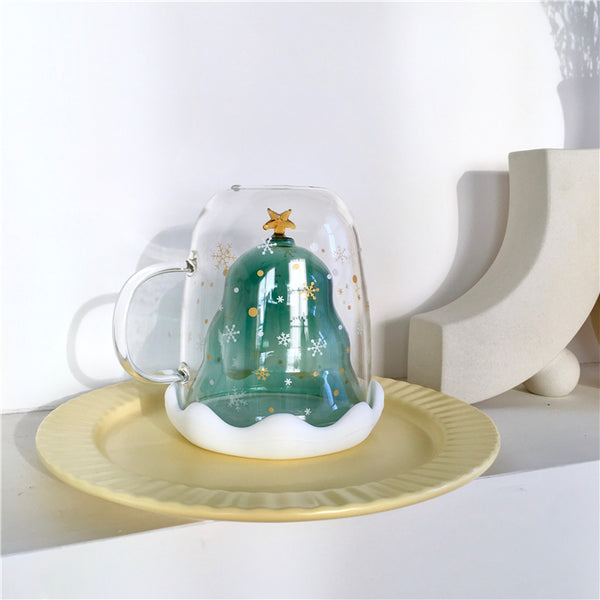 Christmas Tree Double Glass Water Cups PN2271