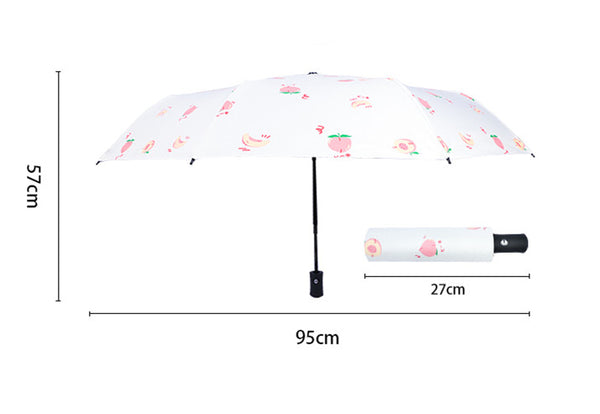 Cute Peach Automatic Folding Umbrella PN2799