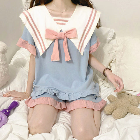 Fashion Bowtie Girls Pajamas Suits PN3887