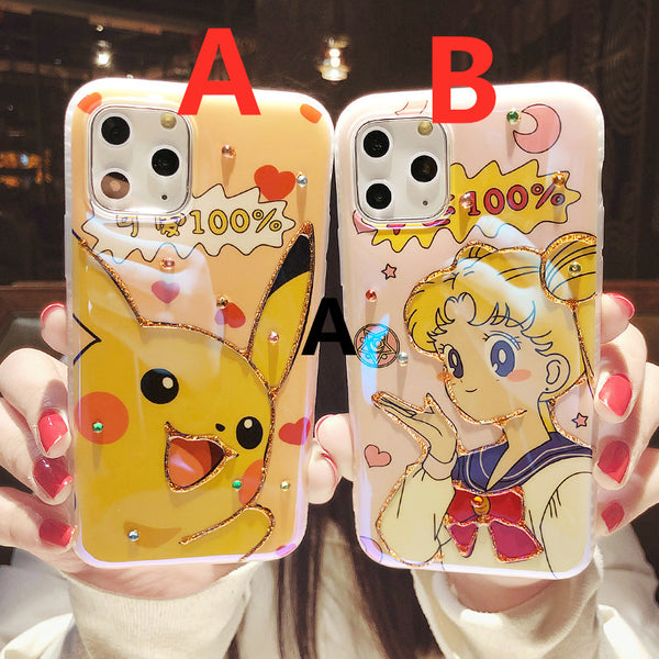 Cartoon Pikachu and Usagi Phone Case for iphone 7/7plus/8/8P/X/XS/XR/XS Max/11/11pro/11pro max PN2412
