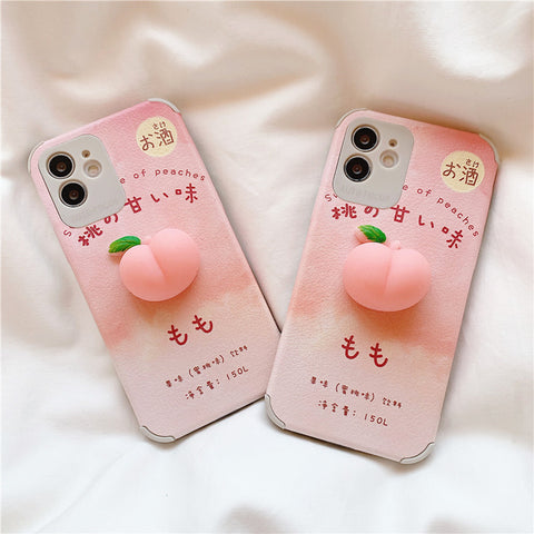 Cute Peach Phone Case for iphone Se/7/7plus/8/8P/X/XS/XR/XS Max/11/11pro/11pro max/12/12MINI/12pro/12pro max PN3531