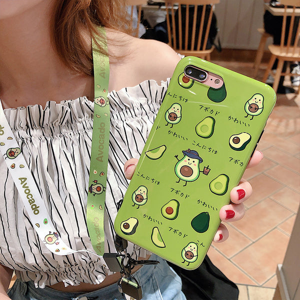 Kawaii Avocado Phone Case for iphone 6/6s/6plus/7/7plus/8/8P/X/XS/XR/XS Max PN1517